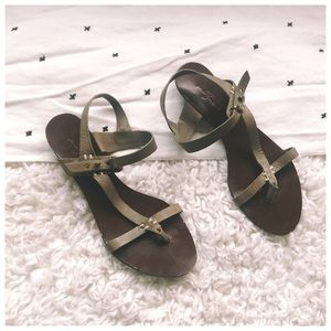 7 For All Mankind Leather Cross Strap Sandals